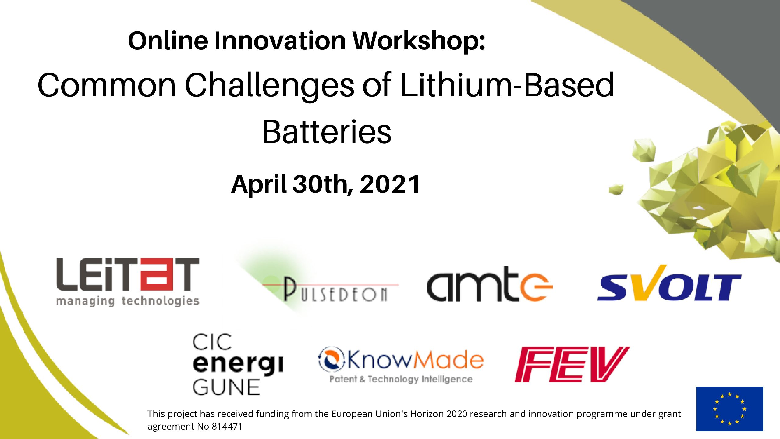 ONLINE INNOVATION WORKSHOP: COMMON CHALLENGES OF LITHIUM-BASED BATTERIES